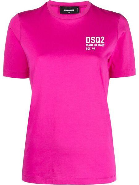 Розовая футболка с логотипом на груди Dsquared2 фото