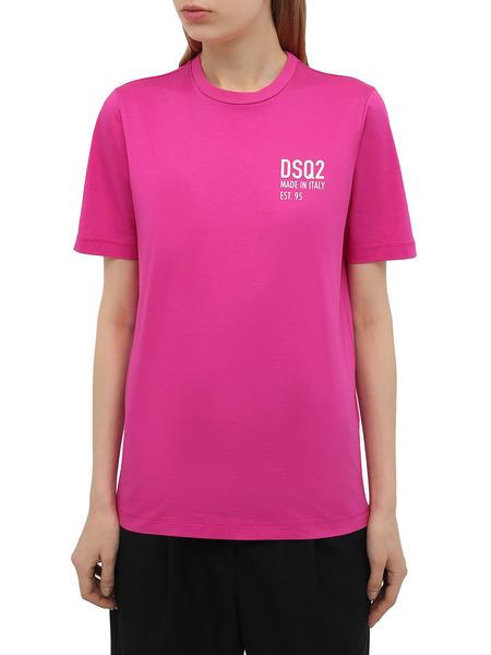 Розовая футболка с логотипом на груди Dsquared2, фото