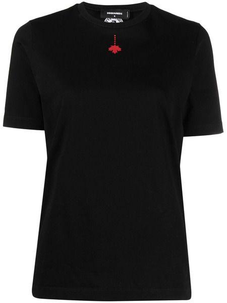 Черная футболка с принтом Maple Leaf Dsquared2 фото