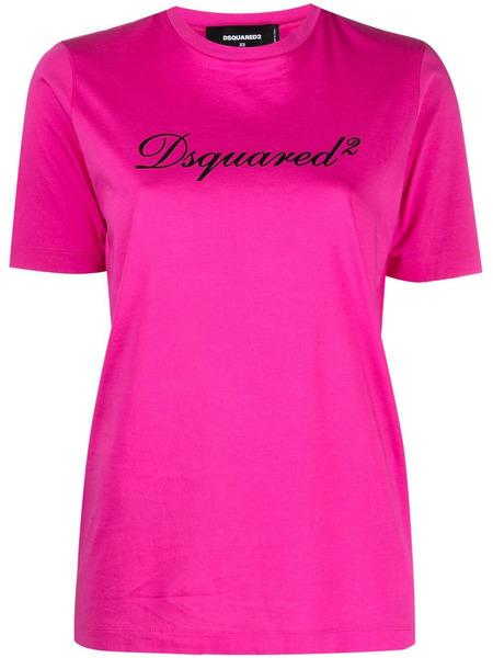Розовая футболка с логотипом Dsquared2, фото