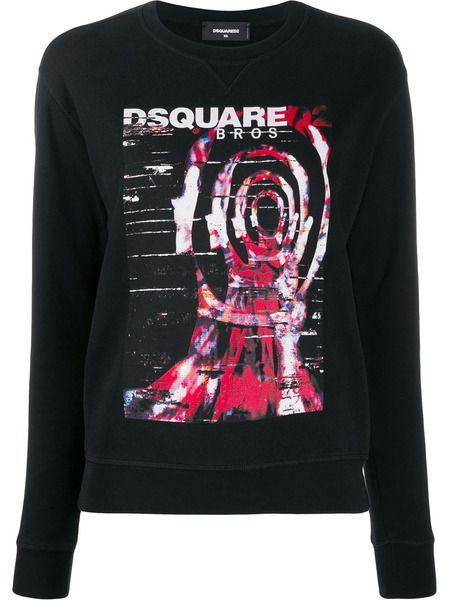 Черный свитшот с цветным принтом Dsquared2 фото