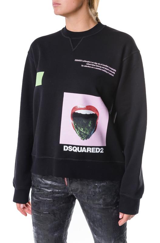 Черный свитшот з принтом Dsquared2, фото