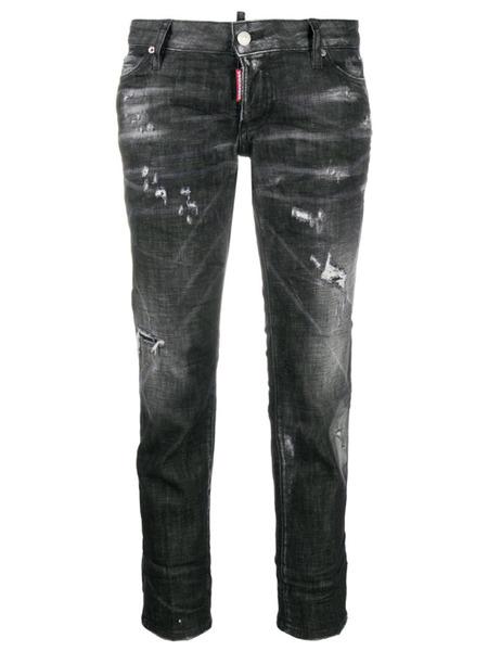 Укороченные джинсы с эффектом потертости Dsquared2, фото