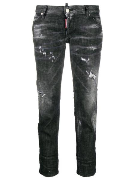 Укороченные джинсы с эффектом потертости Dsquared2 фото