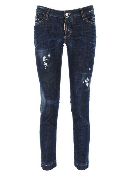 Темно-синие джинсы с потертостями Dsquared2 фото