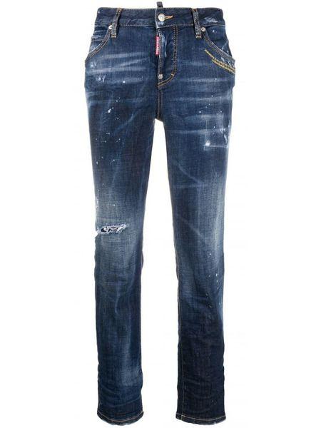 Темно-синие рваные зауженные джинсы Cool Girl Dsquared2 фото