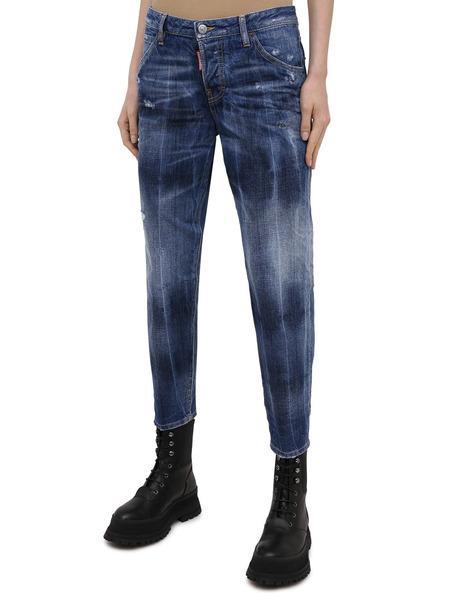 Синие укороченные джинсы Dsquared2, фото