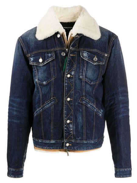 Джинсовая куртка с меховым воротником Dsquared2 фото