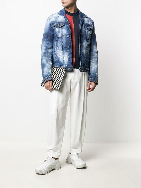 Мужская джинсовая куртка с брызгами краски