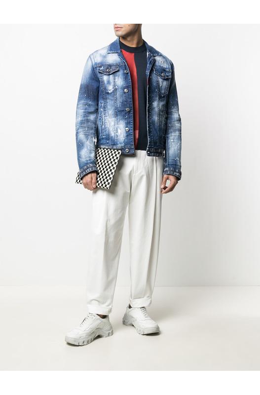 Мужская джинсовая куртка с брызгами краски Dsquared2, фото