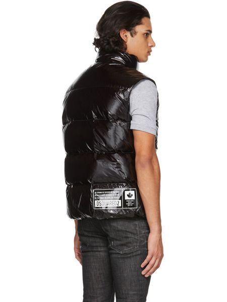 Дутый жилет черного цвета с логотипом
