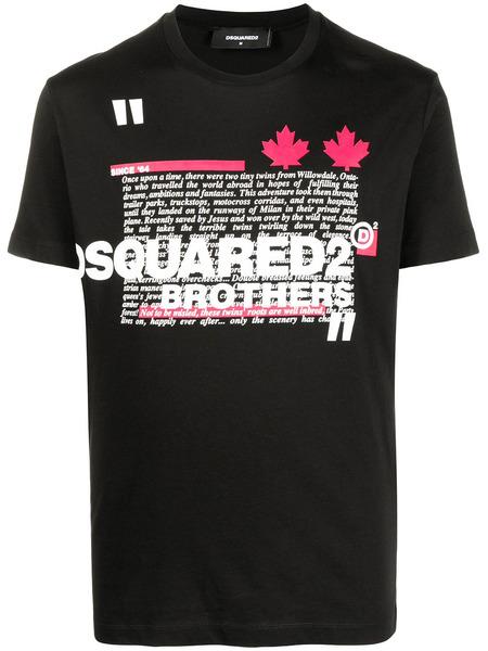 Черная футболка с логотипом Brothers Dsquared2, фото