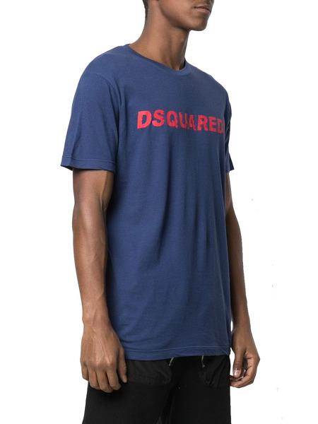Синяя футболка с короткими рукавами и логотипом Dsquared2, фото