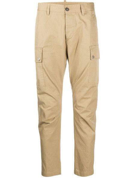 Бежевые зауженные брюки карго Dsquared2 фото