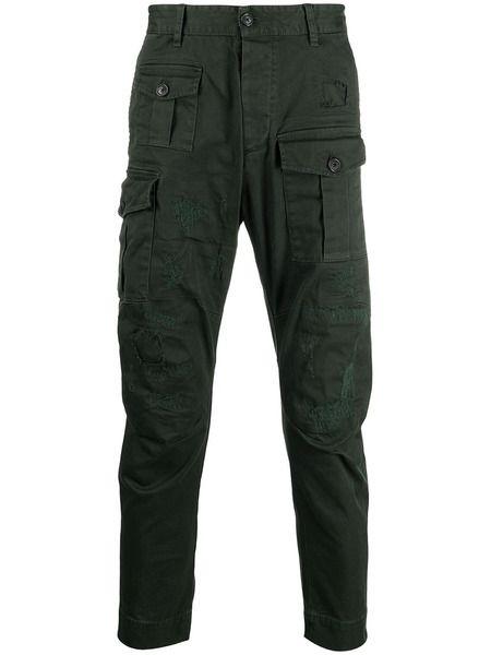 Зеленые брюки карго с эффектом потертости Dsquared2 фото