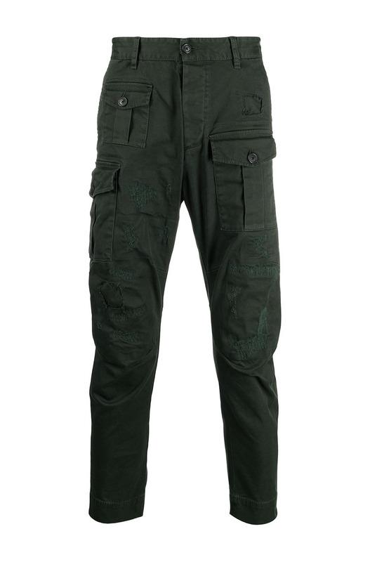 Зеленые брюки карго с эффектом потертости Dsquared2, фото