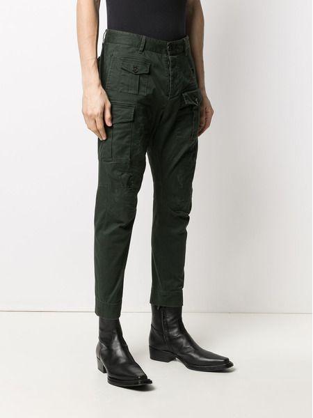 Зеленые брюки карго с эффектом потертости