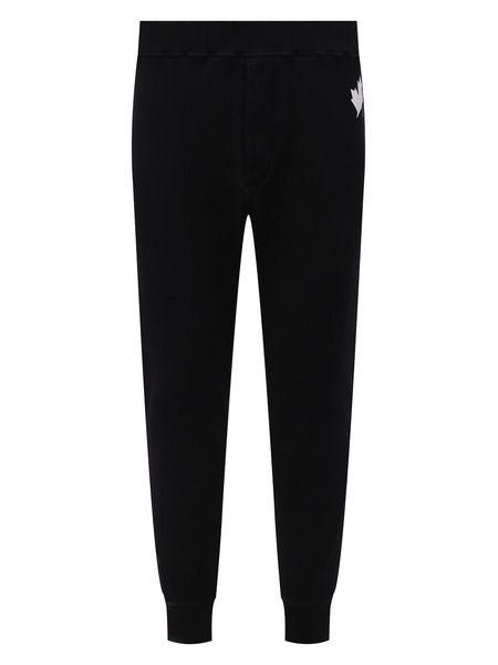 Черные спортивные штаны с логотипом на резинках Leaf Dsquared2 фото