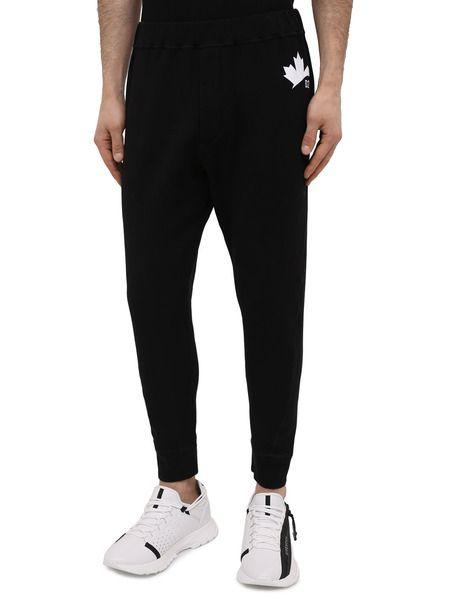Черные спортивные штаны с логотипом на резинках Leaf