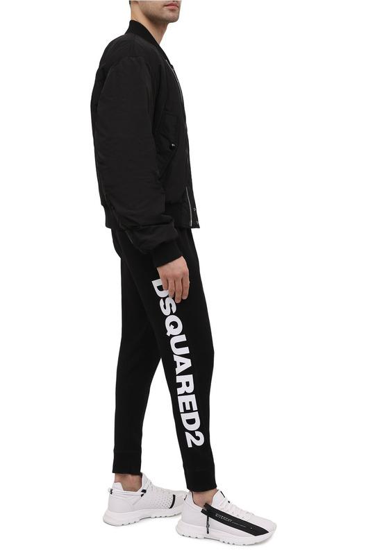 Черные спортивные штаны с логотипом на резинках Leaf Dsquared2, фото