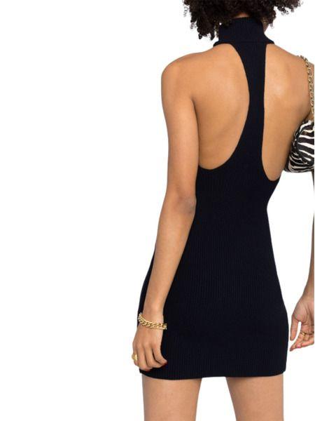 Черное платье мини с вырезом на спине Halter