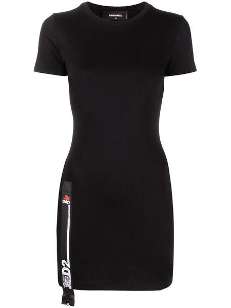 Черное короткое платье D2 Dsquared2 фото