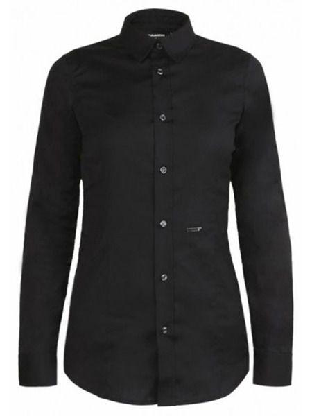 Черная рубашка приталенного кроя Dsquared2 фото