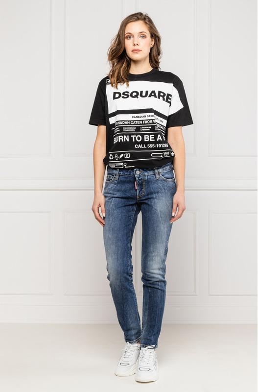 Черная свободная футболка с принтом Dsquared2, фото