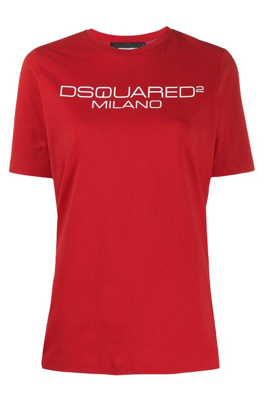 Красная футболка с принтом-лого
