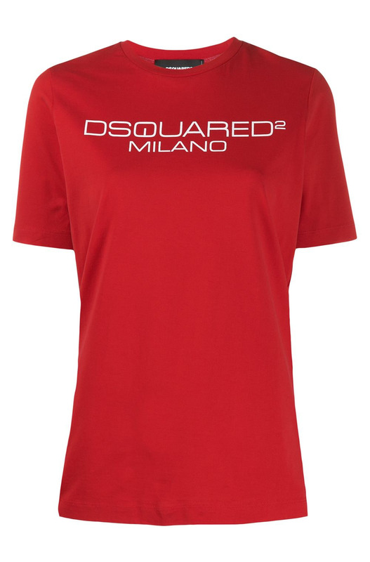 Красная футболка с принтом-лого Dsquared2, фото