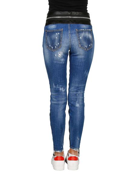 Клетчатые джинсы с контрастным поясом Dsquared2, фото