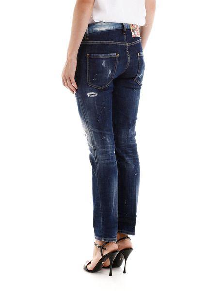 Укороченные джинсы темно-синего цвета