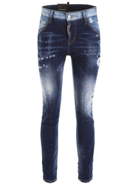 Укороченные джинсы темно-синего цвета Dsquared2 фото