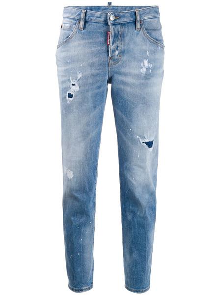 Зауженные джинсы с эффектом потертости Dsquared2, фото