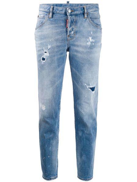Зауженные джинсы с эффектом потертости Dsquared2 фото
