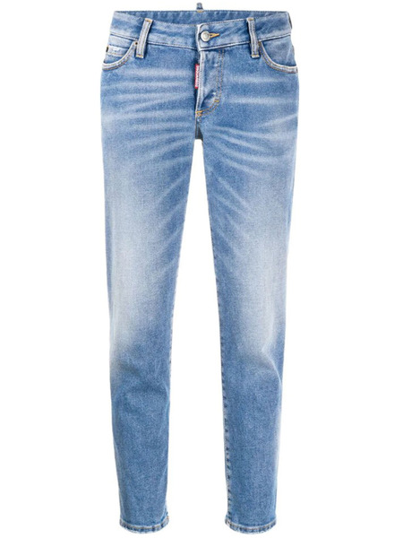 Укороченные женские голубые джинсы Dsquared2 фото