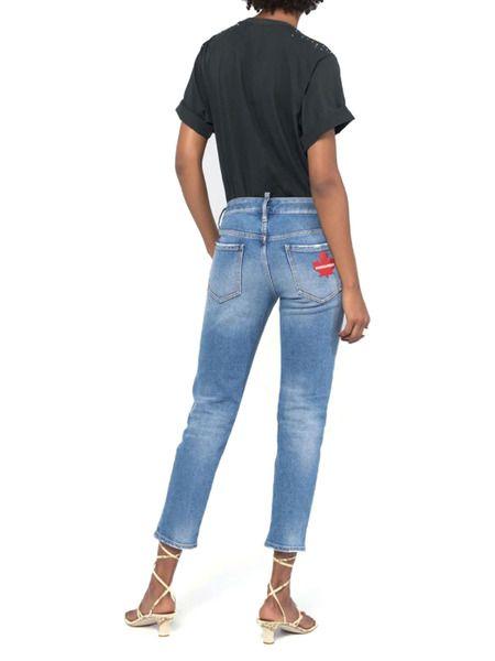 Укороченные женские голубые джинсы