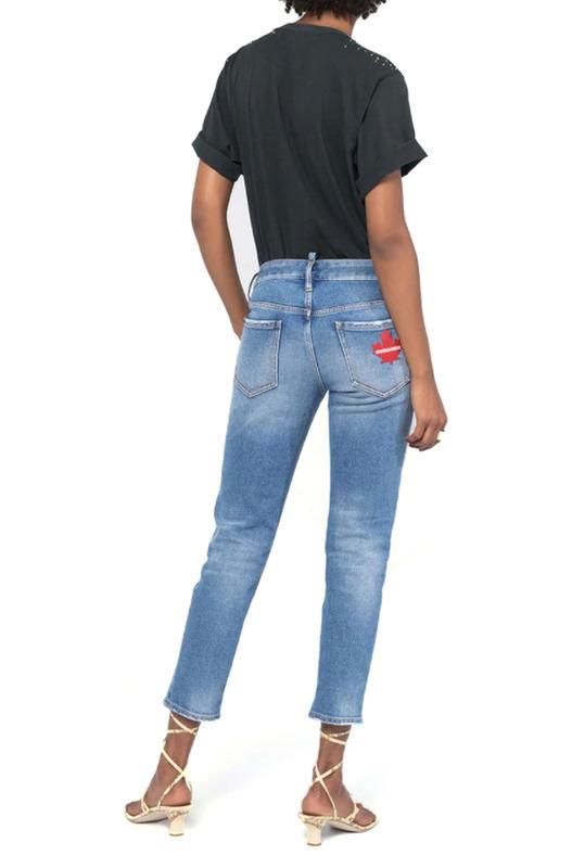 Укороченные женские голубые джинсы Dsquared2