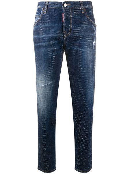 Укороченные джинсы скинни с заклепками Dsquared2 фото