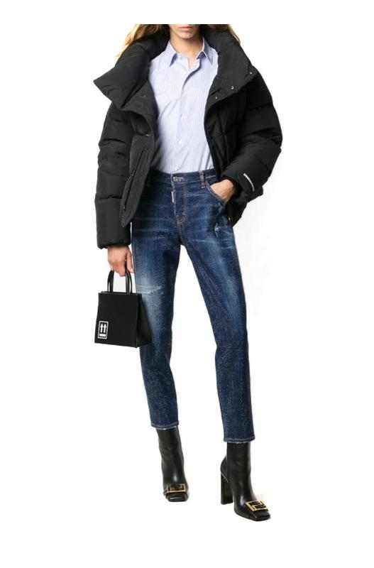 Укороченные джинсы скинни с заклепками Dsquared2