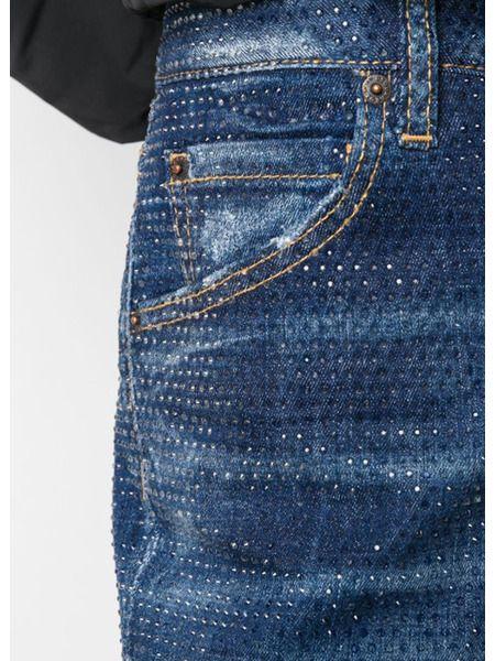 Укороченные джинсы скинни с заклепками