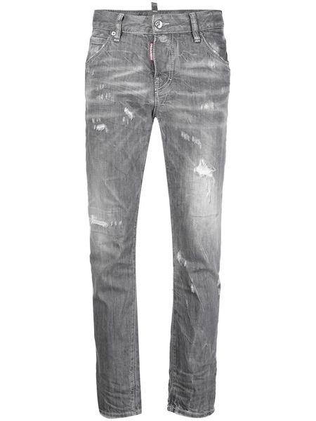 Серые укороченные джинсы скинни с эффектом потертости Dsquared2 фото