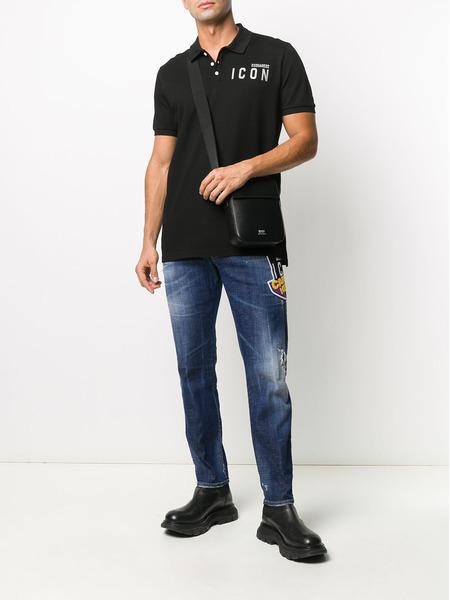 Черная рубашка поло с логотипом Dsquared2, фото