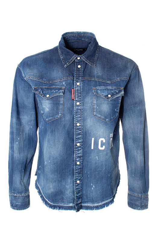 Джинсовая синяя рубашка ICON Dsquared2, фото