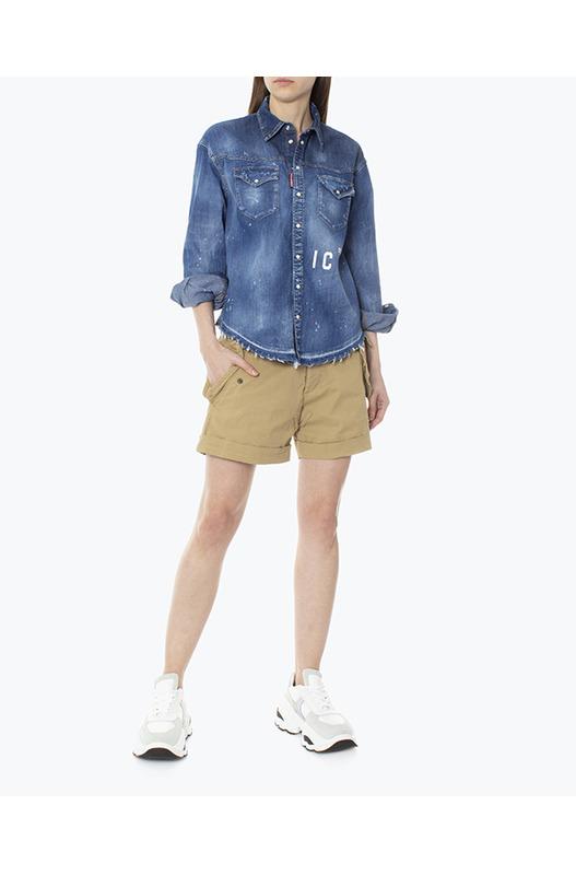 Джинсовая синяя рубашка ICON Dsquared2