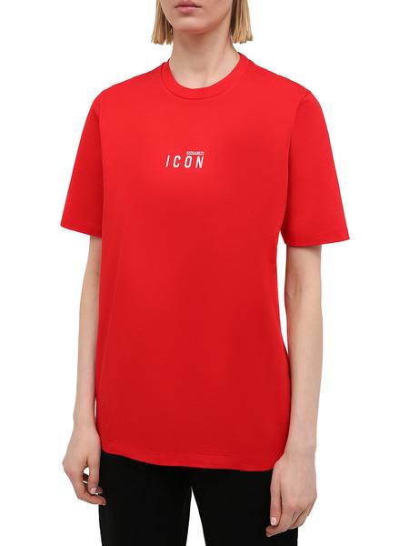 Женская красная хлопковая футболка Icon Dsquared2, фото