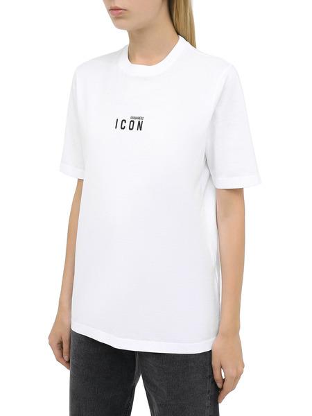 Белая футболка с логотипом Icon на груди Dsquared2, фото