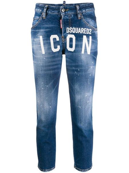 Синие джинсы с принтом Icon Dsquared2 фото