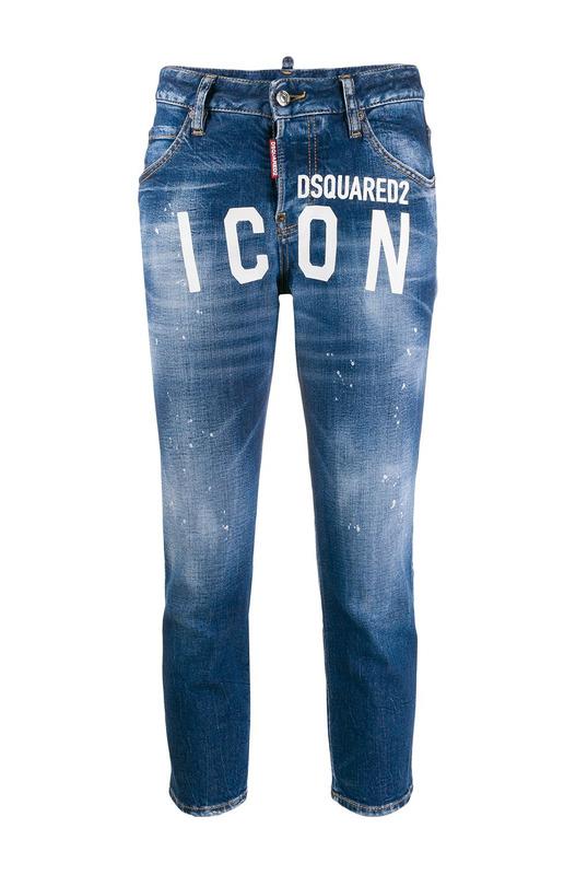 Синие джинсы с принтом Icon