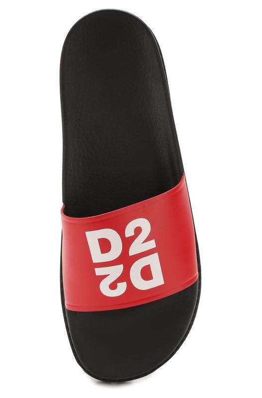 Красные шлепанцы с принтом D2 Dsquared2, фото